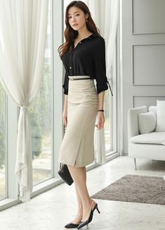 Korean Women`s Fashion Shopping Mall, Styleonme. Black Button Up Shirt, Button Up Shirts, Gold Blouse, Roll Up Sleeves, Satin Blouses, Collar Blouse, Korean Women, Aesthetic Girl, Havana