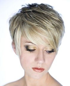 A short blonde straight choppy coloured hairstyle