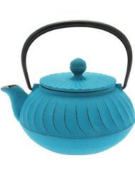 Iwachu Japanese Iron Tetsubin Teapot, Turquoise Wave Made in japan 22 ounce capacity Removable stainless steel mesh infuser basket Coated interior to prevent rust Not for use over an open flame