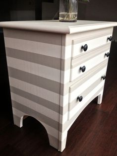 tutorial on creating this adorable nightstand!Awesome tutorial on creating this adorable nightstand! Furniture Fix, Diy Furniture Projects, Hand Painted Furniture, Furniture Makeover, Home Projects, Repurposed Furniture, Striped Dresser, Diy Nightstand, Bedside Cabinet