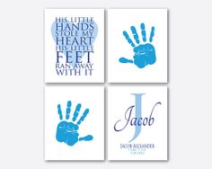 Boy Girl Nursery Wall Art Quad  by SusanNewberryDesigns on Etsy, $55.00
