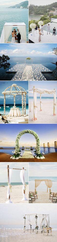 25 Beautiful Summer Wedding Altar Ideas - Beach and bay view