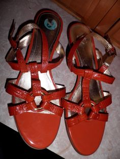 Joan David Orange Embossed Leather Sandals Size 8 M | eBay