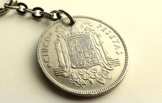 Spanish coin keychain, Spanish Charm, Vintage keychain, Repurposed keychain, Upcycled jewelry, Gifts for him, Spain, Coins, Charms, 1949 by CoinStories on Etsy