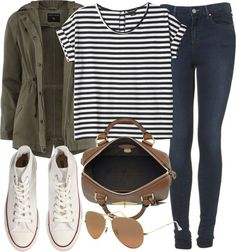 white high-top converse, aviator sunglasses, tan bag, medium washed jeggings, black and white stripped tee, hunter green jacket