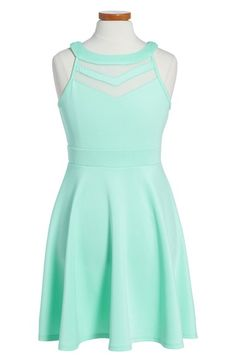 Love, Nickie Lew Mesh Inset Skater Dress (Big Girls) available at #Nordstrom