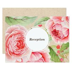 Romantic Watercolor Flower Painting Design with Kraft paper effect background personalized Wedding Reception Cards. Matching Wedding Invitations, Bridal Shower Invitations, Save the Date Cards, Wedding Postage Stamps, Bridesmaid To Be Request Cards, Thank You Cards and other Wedding Stationery and Wedding Gift Products available in the Floral Design Category of the Best Day Ever store at zazzle.com