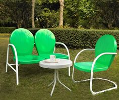Crosley Griffith 3 Piece Metal Outdoor Conversation Set - Grasshopper Green Loveseat & Chair, White Side Table ~ Linens 'n Things $249