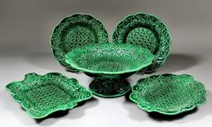 Wedgwood Green Majolica Dessert Set