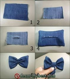 how to make a perfect bow tie fabric to put on a garment Making Hair Bows, Diy Hair Bows, Diy Bow, Diy Ribbon, Artisanats Denim, Denim Hair, Fabric Bows, Fabric Flowers, Denim Crafts