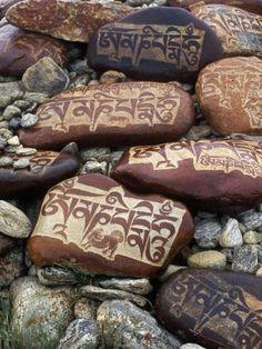 "Hand Carved ""Mani"" Stones with Tibetan Buddhist Mantra (Om Mani Padme Hum) of Chenrezig, Buddha of Compassion, Tibet Buddhist Prayer, Buddha Buddhism, Tibetan Buddhism, Buddhist Art, Tibetan Art, Spiritual Meditation, Buddhist Temple, Yoga Meditation, Nepal"