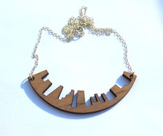 Wood Laser Cut Necklace Urban Skyline on Sterling Silver Chain