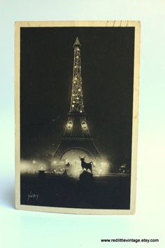 B&W Yvon  Eiffel Tower Vintage Postcard Paris by RedLittleVintage