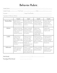 Behavior contracts for elementary schoolers kid pointz halloween sped head behavior rubric fandeluxe Image collections