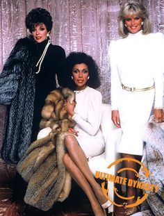 Joan Collins, Diahann Carroll and Linda Evans flaunt the time when shoulder pads ruled the world. #1980s #fashion