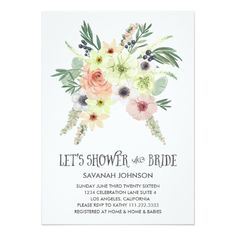 Floral Bouquet Garden Let's Shower the Bride | Bridal Shower Invitation #bridalshower #invitation #floral