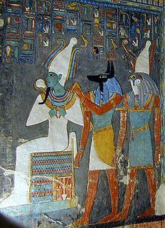 Osiris sous la protection d'anubis et Horus, fresque Egypte ancienne