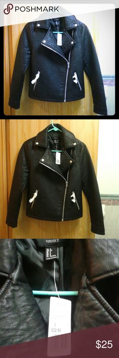 NWT Forever 21 Black Leather Moto Jacket (M) It's a brand new Jacket (worth $33) But you have to play with the Zipper Tab a little to Zip Up (a little faulty)  I think the Tab can be replaced for very cheap*  A Spacious Size M  Open to Reasonable Offers* Forever 21 Jackets & Coats