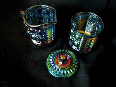 Indiana Glass Windsor Blue Carnival Glass Cream by JulianosCorner - SOLD