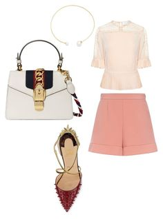 """""""Untitled #1019"""" by ednatchiwana on Polyvore featuring Tanya Taylor, RED Valentino, Christian Louboutin, Fallon and Gucci"""