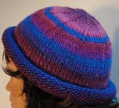 Free Knitting Pattern - Hats: Colorful Striped Roll Brim Hat