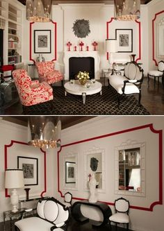 interior design, home decor, living rooms, white, red