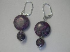 Purple Stone Dangle Earrings by NonSequiturShoppe on Etsy, $12.00