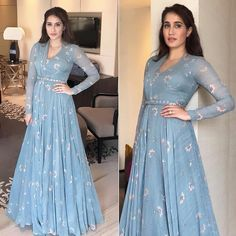 Spotted: looking splendid and classic in a blue draped gown by — a label to look out for! Get this look at Carma via link Indian Gowns Dresses, Pakistani Dresses, Indian Designer Outfits, Designer Gowns, Indian Attire, Indian Outfits, Drape Gowns, Muslim Dress, Anarkali Dress