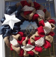 Fun 4th of July Burlap Wreath Burlap Wreath by DallyUpBoutique