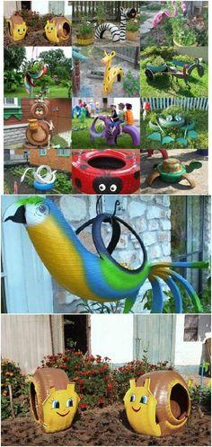 30 Adorable Garden Decorations To Add Whimsical Style To Your Lawn – Garten ideen Diy Garden Projects, Diy Garden Decor, Garden Crafts, Garden Art, Garden Decorations, Garden Ideas, Recycling Projects, Tire Garden, Wooden Garden Planters