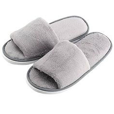 RoseSummer Men Open Toe Winter Slippers Warm Slippers Fleece Shoes * To view further, visit