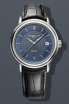 RAYMOND WEIL Genève > Maestro Mens Watches - Automatic date Steel on leather strap blue dial. Available at Murphey the Jeweler. Relic Watches, Gents Watches, Stylish Watches, Luxury Watches, Dream Watches, Diesel Watches For Men, Automatic Watches For Men, Mens Digital Watches, Raymond Weil