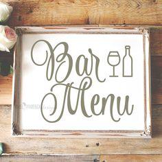 Bar menu SVG, SVG cut file, wedding, getting married, reception, drinks by pixelphoenixdesigns on Etsy