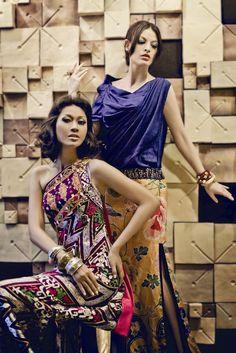 Fresh Colors Rules! Dresses by Priyo Oktaviano and Sebastian Gunawan.