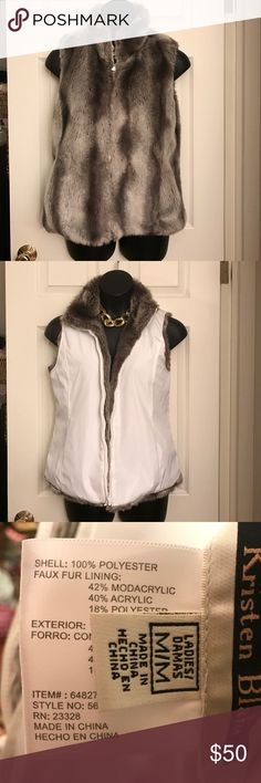 Kristen Blake Reversible Faux Fur Vest medium Like new! Reversible Faux fur vest by Kristen Blake Kristen Blake Jackets & Coats Vests