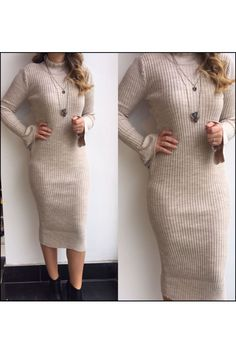 resm İspanyol Kol Fırfırlı Yaka Triko Elbise