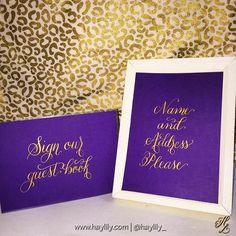 I'm wild about this color combo for #fallweddings - - #Haylily #calligraphy #Gold #pearlex #weddingcalligraphy #purple #plum #animalprint #weddingreception #wedding #weddingsign #handlettering #golden #moderncalligraphy #wild #cheetah #wildlife #decor #shopsmall #abmlifeiscolorful #flashesofdelight #thatsdarling #reception #NC #southern #southernwedding #FlourishYourLife