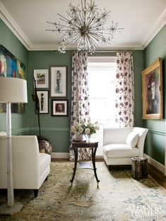 Artful reading room by Tish Mills featuring select pieces of Baker Furniture