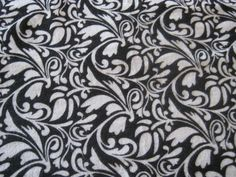 Black Flowers Flannel Fabric 1 3/8 yard Pre-Washed by loschiquitos