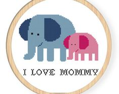 Instant Download,Free shipping ,Cross stitch pattern, PDF,elephant,i love mommy ,zxxc0019