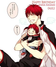 Kagami with chibi Kagami.... This is really cute, especially the huge smiles | KnB