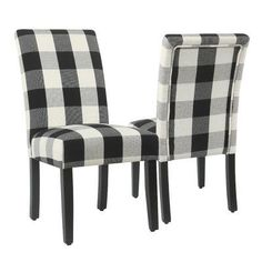Shop HomePop Parsons Dining Chair - Black Plaid (set of - On Sale - Overstock - 18097044 Parsons Dining Chairs, Dining Room Bar, Solid Wood Dining Chairs, Kitchen Chairs, Upholstered Dining Chairs, Dining Chair Set, Dining Room Furniture, Black Dining Room Chairs, Chair Upholstery