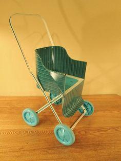 Vtg 1950's Blue White Stripe Tin Metal Doll Stroller Buggy Plastic Wheels