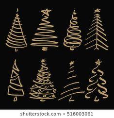 Christmas Doodles, Christmas Drawing, Diy Christmas Cards, Christmas Nails, Christmas Time, Christmas Decorations, Christmas Ornaments, Christmas Tree Sketch, Vector Christmas