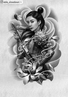 Able Slowdown ( Japanese Dragon Tattoos, Japanese Tattoo Art, Japanese Tattoo Designs, Japanese Sleeve Tattoos, Geisha Tattoo Design, Japan Tattoo Design, Tattoo Design Drawings, Japanese Geisha, Japanese Art