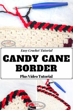 Learn how to crochet the Candy Cane Border easily with this detailed Photo and Video Tutorial. #free #crochet #pattern #tutorial #crochettutorial #crochettips #crochettechniques #crochetborder #crochetblanket #border #borderpattern #crochetpattern #freecrochetpattern #candycane #christmas #diy #diyideas #giftideas #crochetchristmas Crochet Blanket Border, Crochet Boarders, Crochet Edging Patterns, Basic Crochet Stitches, Crochet Basics, Crochet Edgings, Crochet Dishcloths, Cross Stitches, Loom Patterns