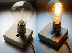 edison lamp XS#20 concrete lamp & XS#17 concrete wooden lamp. handmade. table lamp. concrete edison lamp. concrete table lamp