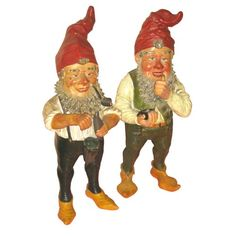 Pair of 1940's German garden gnomes