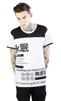 Wake Up T-Shirt disturbia ringer tee japanese print occult goth alien grunge alternative Shirt Print Design, Shirt Designs, Graphic Tee Shirts, Printed Shirts, Boys Shirts, T Shirts For Women, Statement Tees, Great T Shirts, My T Shirt