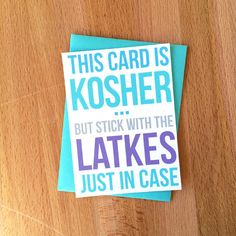 New snark in Sara Does Shop! Happy Hanukkah Card | Kosher Meat Joke Eat More Latkes Funny Snarky Unique Sarcastic Family Friend Coworker Chanukkah Jewish Greeting Note